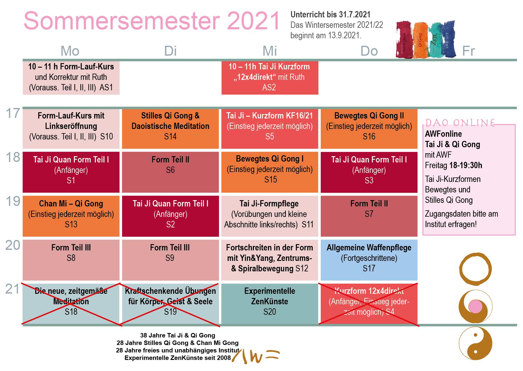 Stundenplan Sommersemester 2021