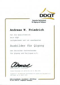 Zertifikat DDQT Ausbilder Qi Gong
