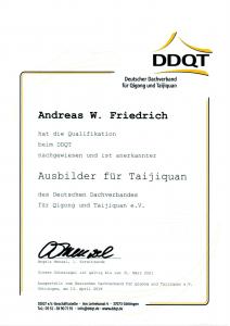 Zertifikat DDQT Ausbilder Tai Ji Quan