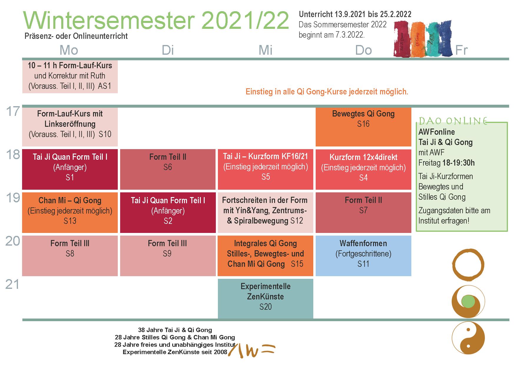 Stundenplan Wintersemester 2021/22